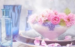 Картинка розы, обработка, ваза, натюрморт, мазки