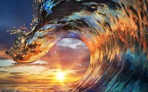 Картинка ocean, sunset, water, wave