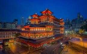 Картинка огни, Сингапур, храм, музей, Buddha Tooth Relic Temple
