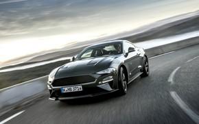 Картинка скорость, Mustang, Ford, поворот, 2018, Bullitt, фастбэк