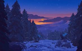 Картинка forest, sky, trees, sunset, art, winter, clouds, snow, stars, sun, artist, digital art, artwork, owl, …