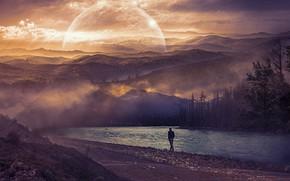 Картинка лес, небо, закат, горы, туман, река, одиночество, рендеринг, рассвет, холмы, берег, один, человек, планета, мужчина, …