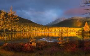 Картинка осень, закат, горы, природа, озеро