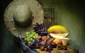 Картинка шляпа, стул, виноград, фрукты, натюрморт, персики, поднос, дыня, слива