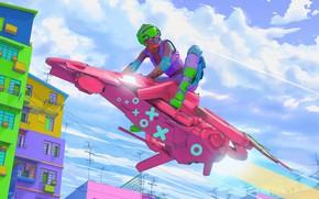 Картинка Город, Стиль, Байк, Sky, Цвета, Art, Speed, Style, Фантастика, Bike, Colors, Science Fiction, Cyberpunk, Mecha, …