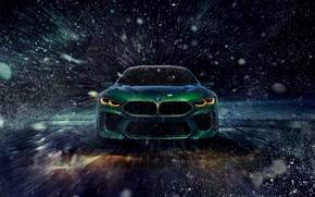 Картинка купе, BMW, вид спереди, метель, пурга, 2018, M8 Gran Coupe Concept