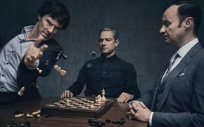 Картинка шахматы, Шерлок Холмс, Мартин Фримен, Бенедикт Камбербэтч, Sherlock, Марк Гэтисс, Майкрофт Холмс, Sherlock BBC, Джон …