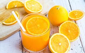 Картинка стакан, стол, апельсины, сок, трубочка, доска, фрукты, боке