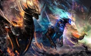 Картинка фентези, магия, драконы