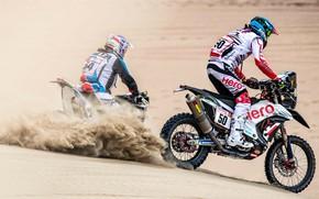 Картинка Песок, Пыль, Спорт, Пустыня, Гонка, Мотоцикл, Rally, Dakar, Дакар, Ралли