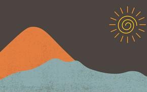 Картинка море, солнце, пески, абстрактный минимализм