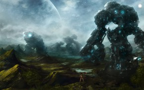 Картинка туман, камни, встреча, планета, роботы, диалог, свет звезд, фантастичекий арт, fantastic world, девушка с совой, …