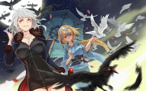 Картинка птицы, девушки, аниме, арт, голуби, Fate