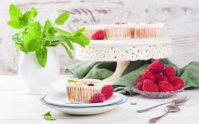 Картинка ягоды, малина, пирожное, десерт, кексы, Iryna Melnyk