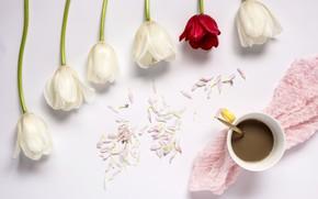 Картинка цветы, тюльпаны, red, white, белые, wood, flowers, cup, tulips, coffee, чашка кофе