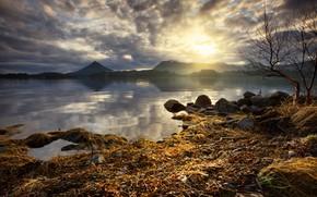 Картинка осень, небо, трава, солнце, облака, свет, горы, ветки, туман, озеро, отражение, камни, холмы, берег, даль, …