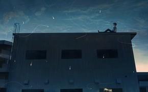 Картинка крыша, ночь, мальчик