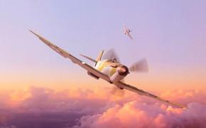 Картинка Небо, Облака, Самолет, Полет, Истребитель, Крылья, Авиация, ВВС, Spitfire, Самолёт, Британский истребитель, Supermarine Spitfire, ВВС …