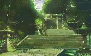 Картинка деревья, лестница, тории, торо
