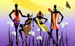 Картинка украшения, бабочки, цветы, стиль, девушки, силуэт, fashion, мода, girls, style, flowers, silhouette, butterflies, jewelry