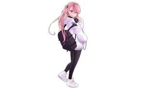 Картинка девушка, стиль, белый фон, рюкзак