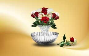 Картинка bouquet, roses, romance, decoration