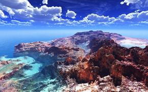 Картинка море, небо, горы, природа