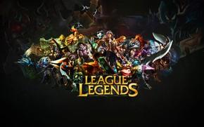 Картинка фон, чёрный фон, персонажи, League of Legends, Лига Легенд