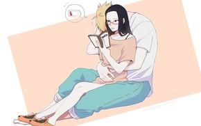Картинка пара, книга, Naruto, Boruto, Сарада, Боруто Узумаки