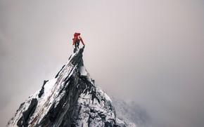 Картинка скала, скалы, человек, вершина, скалолаз, пик