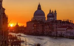 Картинка Italy, Sunrise, Basilica di Santa Maria della Salut
