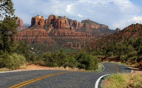 Картинка дорога, пейзаж, горы, природа