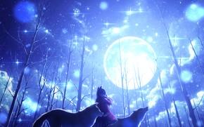 Картинка зима, девушка, деревья, луна, волки