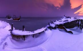Картинка зима, море, снег, пейзаж, природа, рассвет, берег, утро, шхуны, Приморский край