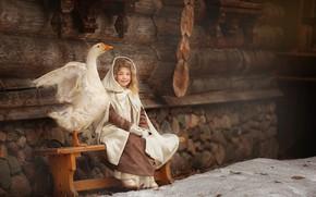 Картинка зима, дом, стена, птица, девочка, лавка, ребёнок, гусь, Владимир Гордеев