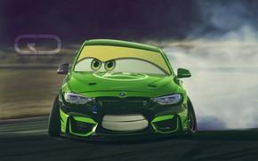 Картинка Авто, BMW, Зеленый, Машина, Улыбка, Глаза, Арт, Cars, Art, Smile, Тачки, BMW M3, Christer Stormark, …