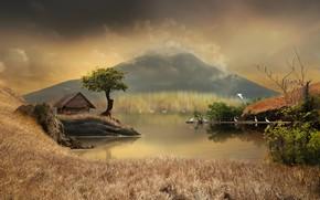 Обои трава, деревья, пейзаж, птицы, природа, пруд, камыши, графика, гора, домик, digital art, цапли