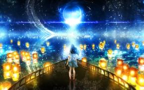 Картинка небо, вода, девушка, ночь, фэнтези, фонарики