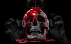 Картинка Взгляд, Череп, Кровь, Магия, Глаза, Руки, Кости, Чёрный фон, Skull, Пальцы, Вуду, Страшный, Черная Магия