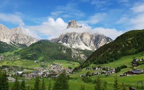 Картинка Italy, View, Mountains in Background, Dolomite Alps, Campolongo, Corvara