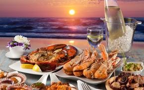 Картинка лед, море, вино, морепродукты, мидии, омары, лобстеры