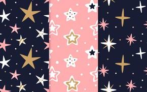 Картинка звезды, фон, розовый, черный, pattern, stars, Background