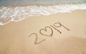 Картинка песок, море, волны, пляж, лето, Новый Год, summer, new year, beach, sea, seascape, sand, wave, …