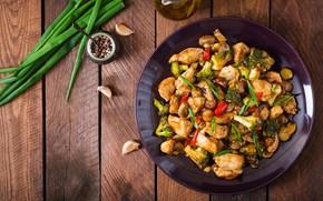 Картинка грибы, курица, лук, перец, соус, чеснок, брокколи