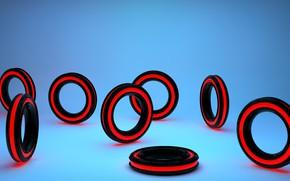 Картинка свет, красный, блики, отражение, графика, кольца, голубой фон, 3д, чернй