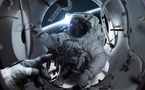 Картинка Скафандр, Станция, Человек, Астронавт, Костюм, Космонавт, Space, Station, Suit, Man, Space Station, Невесомость, Astronaut, Cosmonaut, …