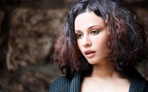 Картинка фон, модель, портрет, макияж, брюнетка, прическа, красотка, боке, Javier Ullastres, Anastasia Platonova