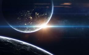 Картинка Ночь, Звезды, Планета, Космос, Звезда, Свет, Планеты, Light, Planets, Star, Города, Арт, Stars, Space, Блик, …