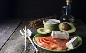 Картинка рыба, сыр, рис, авокадо, лосось