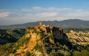 Картинка горы, башня, деревня, Италия, Чивита-ди-Баньореджо, Витербо